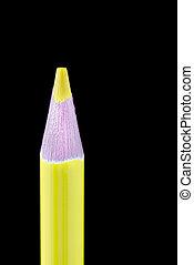 crayon, haut, jaune, unique, noir, fin