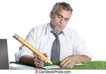 crayon, humour, grand signe, geste, homme affaires, chèque, banque