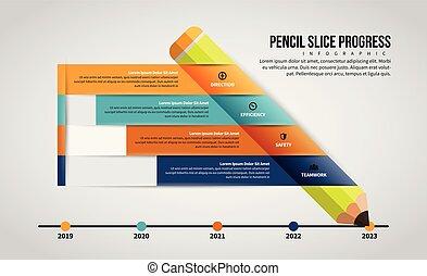 crayon, infographic, couper, progrès
