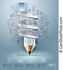 crayon, infographics, business, step.
