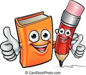 crayon, livre, dessin animé, caractères