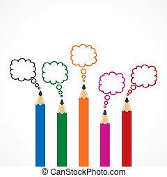 crayon, message, bulle, coloré
