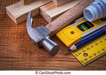crayon, modèles, niveau, règle bois, cla, briques, construction