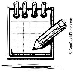 crayon, organisateur, planificateur, ou