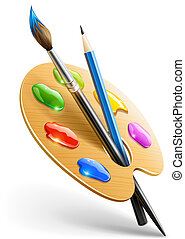crayon, palette, art, pinceau, outils, dessin