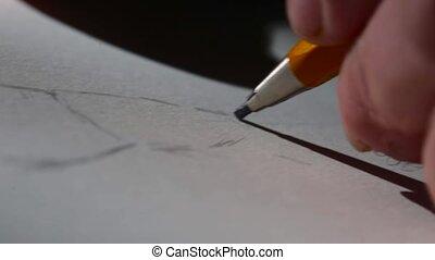 crayon, paper., graphite, blanc, dessin