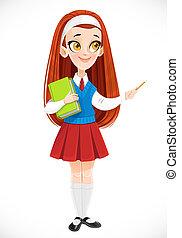 crayon, redhaired, tient, blanc, elle, mignon, côté, fond, main, écolière, isolé, livre, points