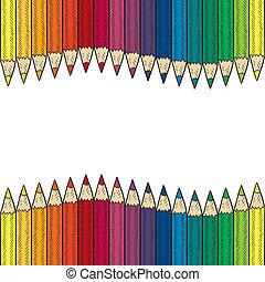 crayon, seamless, coloré, frontière