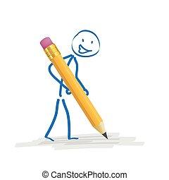 crayon, stickman