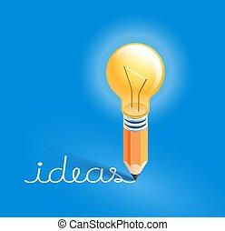 crayon, text., ampoule, écriture, vecteur, illustrations., idées, lumière