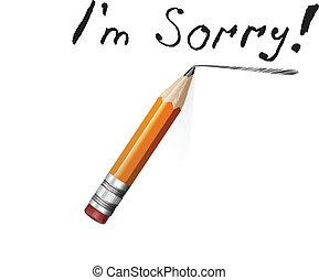 crayon, texte, dire, papier, désolé, message