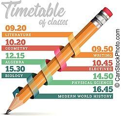 crayon, timeline, illustration, vecteur, conception, gabarit, horaire, ou