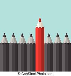 crayon, unique, rouges