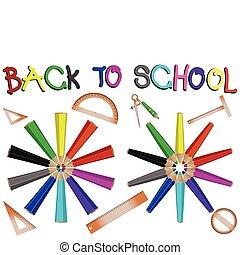 crayons, école, bannière