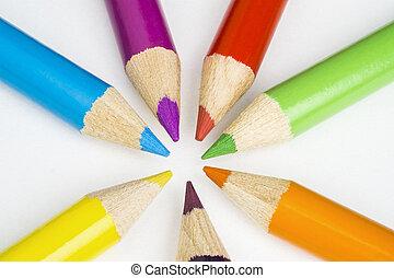 crayons, blanc, arrière-plan coloré