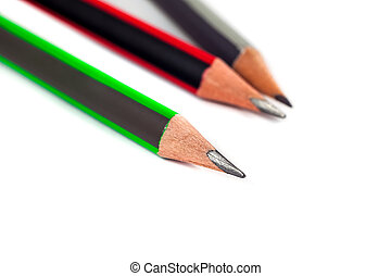 crayons, blanc, trois, fond
