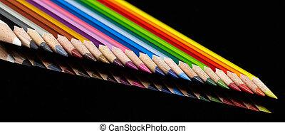 crayons, coloré, rang