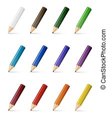 crayons, couleur, vecteur