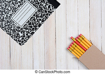 crayons, courtiser, livre, composition