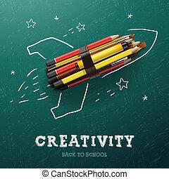 crayons, créativité, learning., fusée
