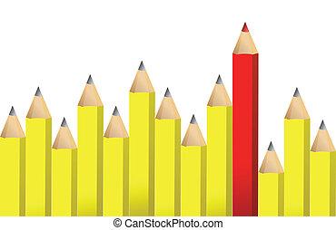 crayons, crayon, jaune rouge, une