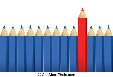 crayons, crayon, rouges, une
