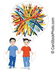 crayons, dessiner, enfants, coloré