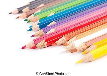 crayons, diagonal, coloré, rang