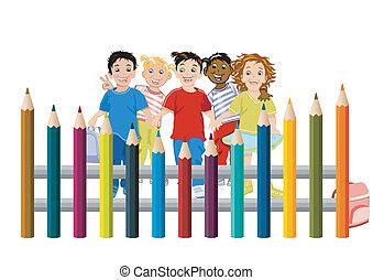 crayons, enfants, coloré
