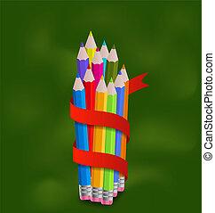 crayons, ensemble, coloré, ruban