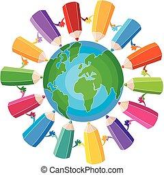 crayons, globe, autour de