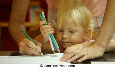 crayons, non identifié, femme, peu, dessin, papier, blanc, girl