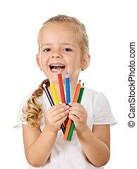 crayons, peu, coloré, girl, heureux