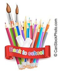 crayons, school., arc-en-ciel, eps10., dos, isolé, arrière-plan., vecteur, gomme, blanc