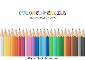 crayons, vecteur, coloré