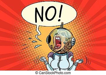 crier, girl, astronaute, non