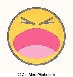 crier, vecteur, -, dessin animé, smiley