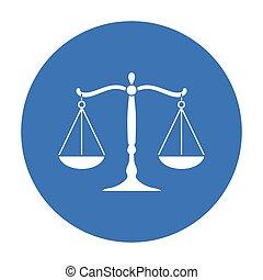 crime, illustration., symbole, arrière-plan., justice, vecteur, isolé, noir, style, blanc, icône, stockage, balances