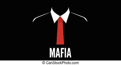 crime, silhouette, cravate, mafia, homme, rouges