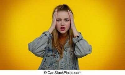 cris, surprise, désespoir, horreur, tension, choc, girl, problèmes, peur, sent, tension, frustré