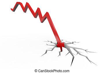 crisis., financier, rupture, dépression, floor., rouges, échec, argent, effondrement, flèche, concept, faillite