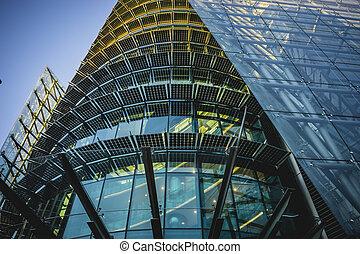 cristal, espaces, bâtiment moderne, bureau