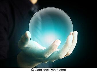 cristal, incandescent, balle, tenant main