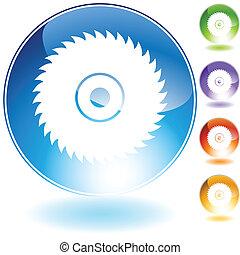 cristal, lame, scie, circulaire