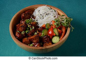 cristal, nouilles, bois, tofu, riz, frit, bowl.
