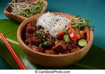 cristal, riz, frit, bowl., nouilles, bois, tofu