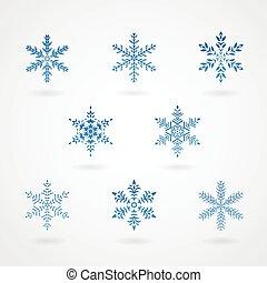 cristaux, flocons neige