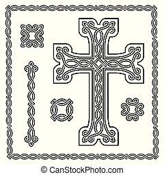 cristian, ornement, croix, imbriqué