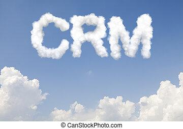 crm, concept, nuages, texte