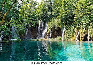 croatie, lac, chutes d'eau